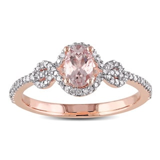 Miadora 10k Rose Gold Morganite and 1/5ct TDW Diamond Halo Ring (G-H, I2-I3)
