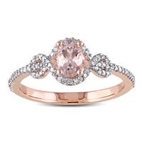 Miadora 10k Rose Gold Morganite and 1/5ct TDW Diamond Halo Ring (G-H, I2-I3) - Pink