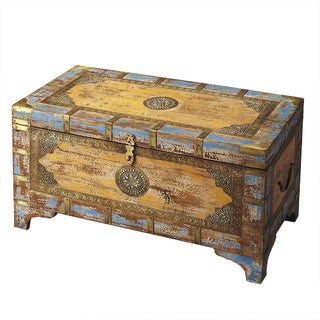 Butler Nador Painted Brass Inlay Storage Trunk