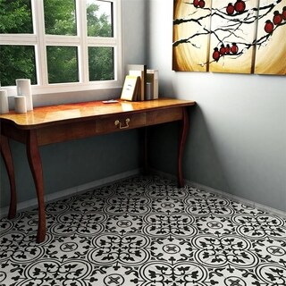 SomerTile 9.75x9.75-inch Art White Porcelain Floor and Wall Tile (16 tiles/10.76 sqft.)