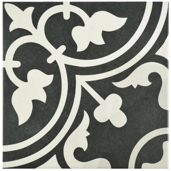 bce7284d02eb Shop SomerTile 9.75x9.75-inch Art Black Porcelain Floor and Wall ...