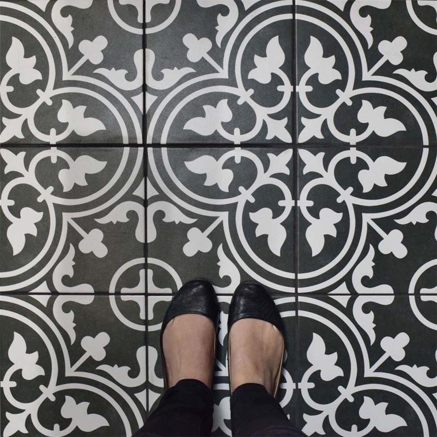 Somertile Art Black Porcelain 975 X 975 Inch Floor And Wall Tile