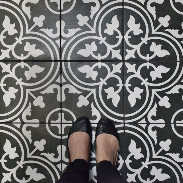 SomerTile Art Black Porcelain Floor and Wall Tile (Case of 16)