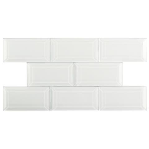SomerTile 2.875x5.875-inch Reflections Beveled Ice White Glass Wall Tile (8 tiles/1 sqft.)