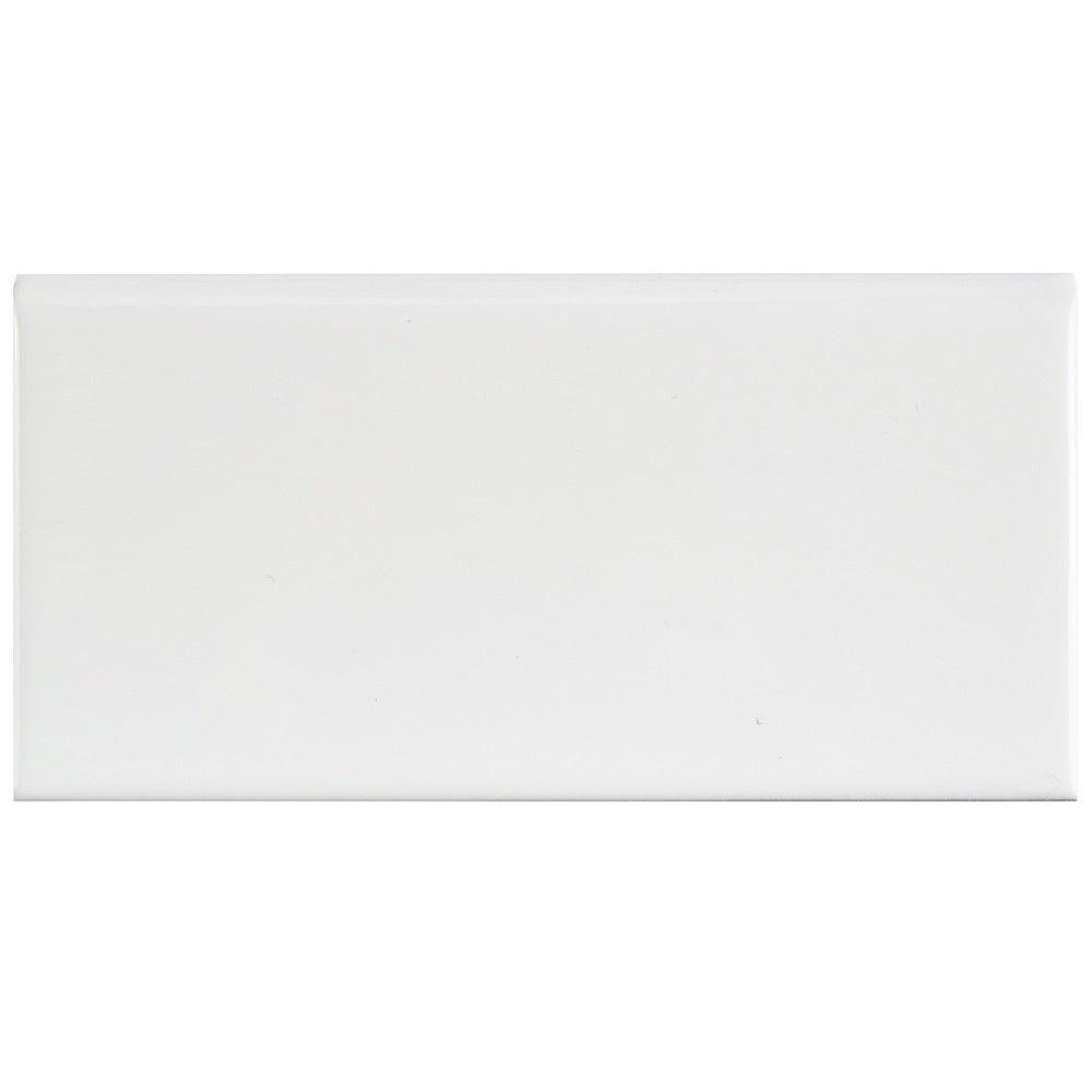 Somertile 3x6-inch Malda Subway Glossy White Ceramic Bull...