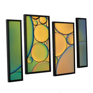 ArtWall 'Cora Niele's Orange Green ' 4-piece Floater Framed Canvas Staggered Set