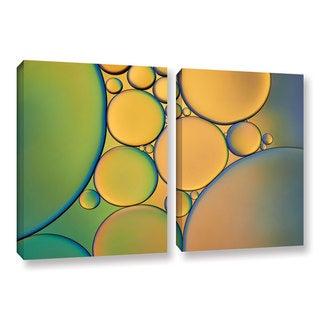 ArtWall 'Cora Niele's Orange Green ' 2-piece Gallery Wrapped Canvas Set