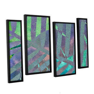 ArtWall 'Cora Niele's Leaf Shades III' 4-piece Floater Framed Canvas Staggered Set
