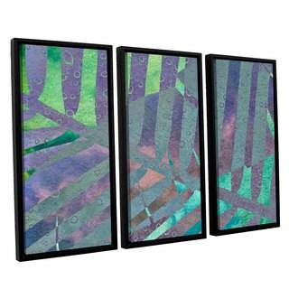 ArtWall 'Cora Niele's Leaf Shades III' 3-piece Floater Framed Canvas Set