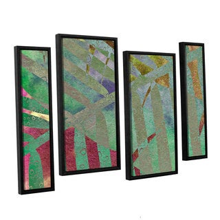 ArtWall 'Cora Niele's Leaf Shades II' 4-piece Floater Framed Canvas Staggered Set
