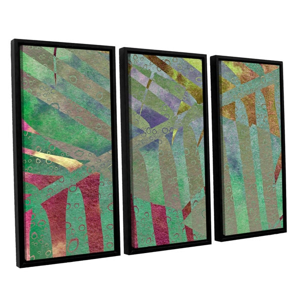 ArtWall 'Cora Niele's Leaf Shades II' 3-piece Floater Framed Canvas Set
