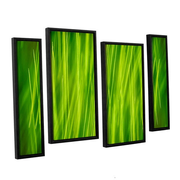 ArtWall 'Cora Niele's Hordeum' 4-piece Floater Framed Canvas Staggered Set
