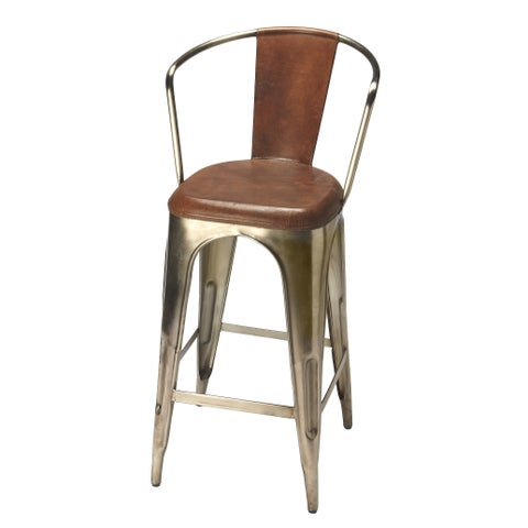 Handmade Butler Roland Iron and Leather Bar Stool (India)