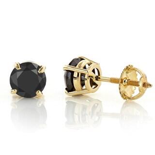 Luxurman 14k Gold 3/4ct TDW Black Diamond Stud Earrings