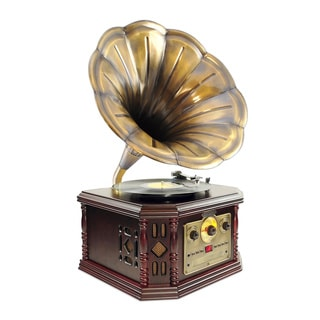 Pyle PVNP48BCD Vintage Bluetooth Gramophone/Phonograph Style Turntable System