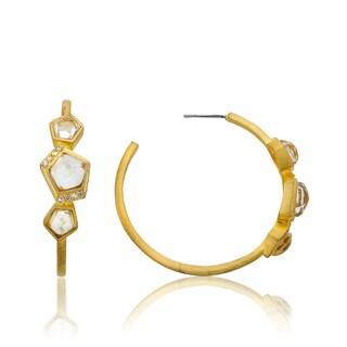 Radiance Bijou By Riccova Satin 14k Gold Overlay Faceted Glass Hoop Earrings
