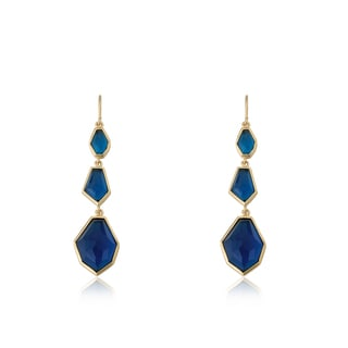 Radiance Bijou By Riccova Satin 14k Gold Overlay Triple Faceted Blue Stone Dangle Earrings