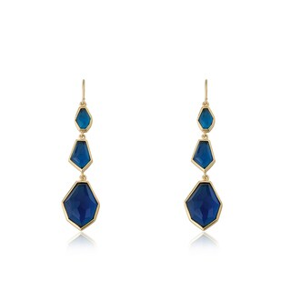 Radiance Bijou By Riccova Satin 14k Gold Overlay Triple Faceted Blue Stone Dangle Earrings (5 options available)