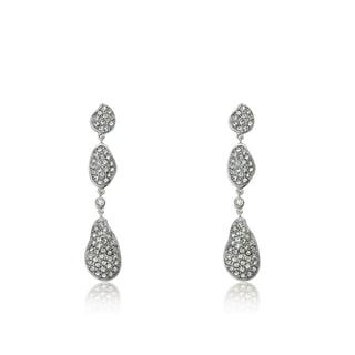 Radiance Bijou By Riccova 14k Gold Overlay Crystal Filled Triple Teardrop Long Dangle Earrings