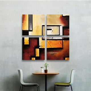 ArtWall 'Jim Morana's Abstract Modern' 4-piece Gallery Wrapped Canvas Square Set