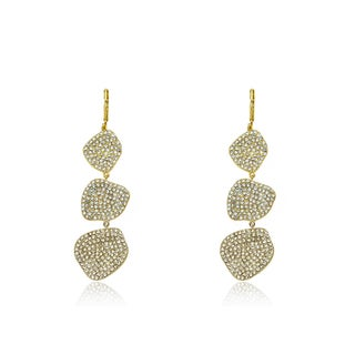 Radiance Bijou By Riccova 14k Gold Overlay Crystal Drop Long Dangle Leverback Earrings