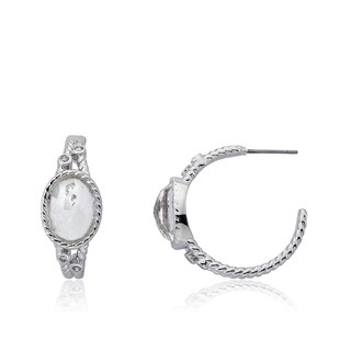 Radiance Bijou By Riccova 14k Gold Overlay Cubic Zirconia and Faceted Glass Stone Hoop Earrings