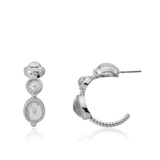 Radiance Bijou By Riccova 14k Gold Overlay Triple Faceted Glass Hoop Earrings