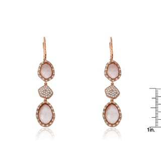 Radiance Bijou By Riccova 14k Gold Overlay Cubic Zirconia and Faceted Glass Dangle Leverback Earrings
