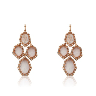 Radiance Bijou By Riccova 14k Rose Gold Overlay Cubic Zirconia and Faceted Glass Chandelier Earrings