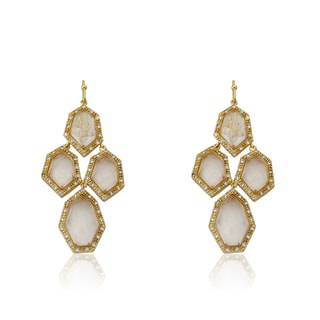 Radiance Bijou By Riccova 14k Goldplated Cubic Zirconia and Faceted Glass Chandelier Earrings