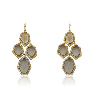 Radiance Bijou By Riccova 14k Goldplated Cubic Zirconia and Faceted Black Glass Chandelier Earrings