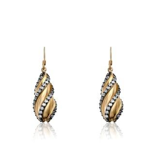 Radiance Bijou By Riccova Satin 14k Goldplated Teardrop Cubic Zirconia Stripe Leverback Earrings