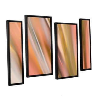 ArtWall 'Cora Niele's Abstract Barcode' 4-piece Floater Framed Canvas Staggered Set