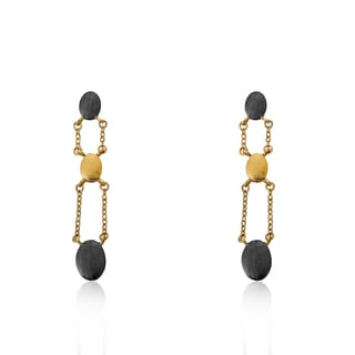 Radiance Bijou By Riccova 14k Two-tone Gold Overlay Brushed Nuggets Dangle Earrings