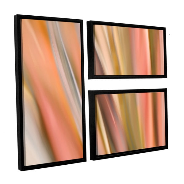 ArtWall 'Cora Niele's Abstract Barcode' 3-piece Floater Framed Canvas Flag Set - Orange