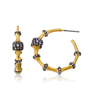 Radiance Bijou By Riccova 14k Two-tone Gold Overlay Cubic Zirconia Ball Spacer Hoop Earrings