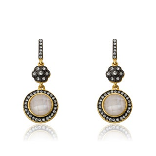Radiance Bijou By Riccova 14k Two-tone Gold Overlay Cubic Zirconia and Opal Earrings