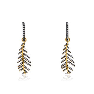 Radiance Bijou By Riccova Satin 14k Gold Overlay Leaf Cubic Zirconia Dangle Earrings
