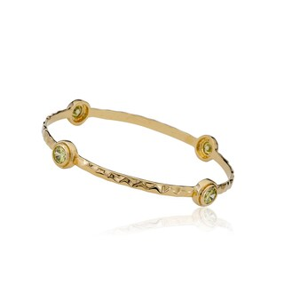 Radiance Bijou By Riccova Arctic Mist Hammered 14k Goldplated Lime Stone Bangle