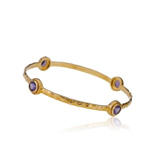 Radiance Bijou By Riccova Arctic Mist 14k Goldplated Purple Stone Hammered Bangle