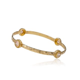 Radiance Bijou By Riccova Arctic Mist 14k Goldplated Hammered Champagne Circles Bangle