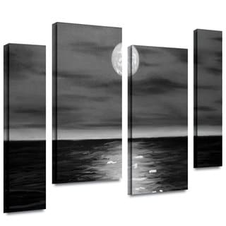 ArtWall 'Jim Morana's Moon Rising' 4-piece Gallery Wrapped Canvas Staggered Set