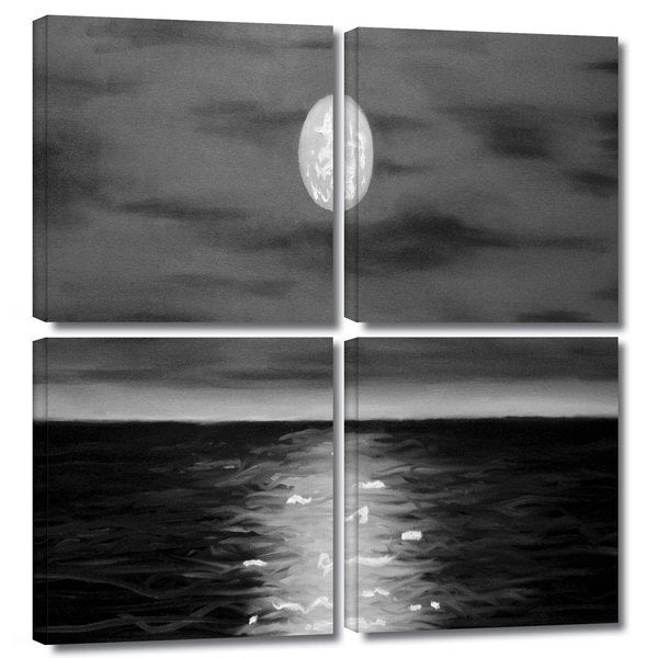 ArtWall 'Jim Morana's Moon Rising' 4-piece Gallery Wrapped Canvas Square Set