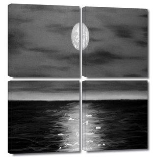 ArtWall 'Jim Morana's Moon Rising' 4-piece Gallery Wrapped Canvas Square Set