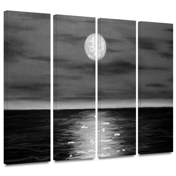 ArtWall 'Jim Morana's Moon Rising' 4-piece Gallery Wrapped Canvas Set