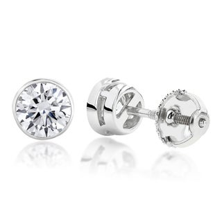 Luxurman Platinum Round Diamond Bezel Stud Earrings (F-G, VS1-VS2 )