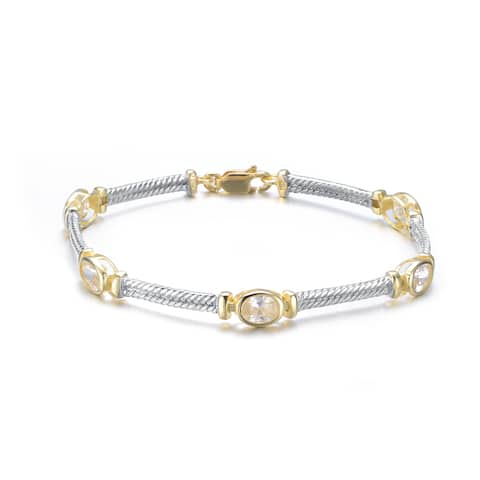 Collette Z Sterling Silver and Gold Overlay Cubic Zirconia Oval Bracelet - White