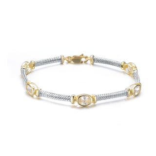 Collette Z Sterling Silver and Gold Overlay Cubic Zirconia Oval Bracelet