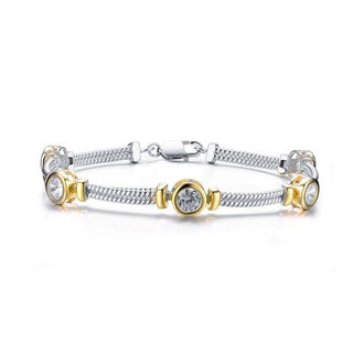 Collette Z Sterling Silver and Gold Overlay Cubic Zirconia Circle Bracelet
