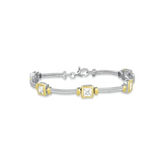 Collette Z Sterling Silver and Gold Overlay Cubic Zirconia Rectangle Bracelet